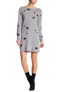 Scattered Star Long Sleeve Cashmere Dress