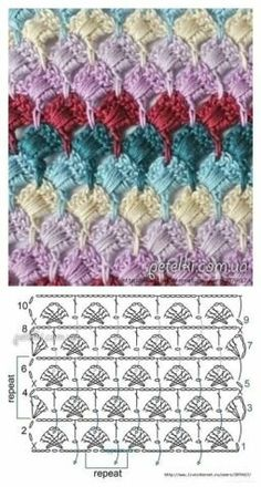 Crochet motif with chart. Crochet Gloves Pattern, Crochet Diagram, Crochet Stitches Patterns, Crochet Chart, Crochet Motif, Crochet Designs, Free Crochet, Stitch Patterns, Knitting Patterns