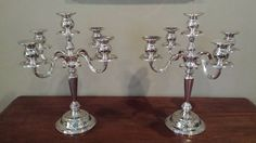 "Vintage Silver 5-light Candelabra Pair 14.5"" - Gorgeous! Heavyweight"