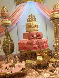 Royal cake at a princess baby shower party! See more party planning ideas at Cat. - Baby Tips Baby Shower Princess, Baby Princess, Princess Birthday, Princess Party, Princess Cakes, Shower Party, Baby Shower Parties, Baby Shower Themes, Shower Ideas