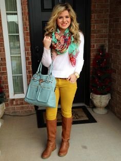 Floral scarf, white top, mustard pants, tall brown boots and an oversized robins egg blue handbag. Such an adorable spring outfit. I can't wait to dress for the season. Casual Outfits, Cute Outfits, Fashion Outfits, Womens Fashion, Amazing Outfits, Casual Attire, Fall Winter Outfits, Autumn Winter Fashion, Fall Fashion