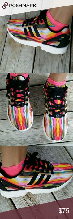 Adidas HTF ZX Flux W Size 7 Womens EUC Adidas HTF ZX Flux W Size 7 Womens. EUC Literally worn for 4 hours! They are too big! These are VERY HARD TO FIND Womens Size 7, but run bigger. Id say more up to a 7.5/8 easily Color: CBLACK/FTWWHT *NO TRADE*N