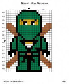 Ninjago Cross Stitch Pattern + Free, Lloyd Garmadon Ninja, Green Ninja, lego mov… – The Best Ideas Melty Bead Patterns, Bead Embroidery Patterns, Hama Beads Patterns, Beading Patterns, Cross Stitch Patterns, Color Patterns, Mosaic Patterns, Pixel Art Lego, Knitting Charts