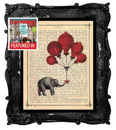 ELEPHANT with red balloons - ELEPHANT on antique book page ELEPHANT dictionary art print on Etsy, $12.00