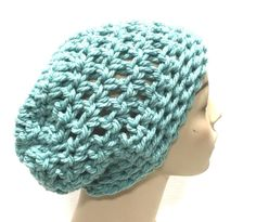 Kay's Crochet Slouchy Beanie Hat in Sea Foam Green