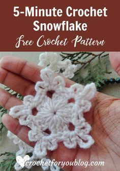 Crochet Flowers Pattern Crochet Snowflake - free crochet pattern - Believe me, friends, this snowflake can make in 5 minutes. So I named it Crochet Snowflake. Also, this pattern requires less than 5 yards. Crochet Motifs, Crochet Flower Patterns, Crochet Flowers, Crochet Stitches, Knit Crochet, Free Crochet Snowflake Patterns, Crochet Ideas, Crochet Ornament Patterns, Crochet Poppy