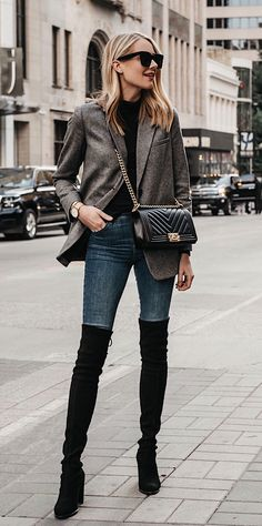 #winter #outfits women's gray blazer with blue denim bottoms