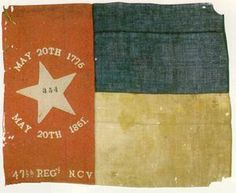 Flag of the 47th Regt NCV Infantry The 47th was organized in March 1862 from of men from Nash, Wake, Franklin, Granville, and Alamance counties. The Regt served in North Carolina until May 1863 It fought with the ANV from Gettysburg to Cold Harbor, then was involved in the Petersburg siege south of the James River and the Appomattox Campaign. The unit lost over 35% of the 567 engaged at Gettysburg, reported 42 casualties at Bristoe and 20 at the Wilderness . It surrendered 5 officers and 72…