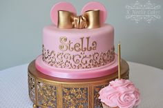 Pink and Gold Minnie Mouse cake by K Noelle Cakes