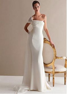 Elegent Chiffon One-shoulder Neckline Mermaid Wedding Dresses