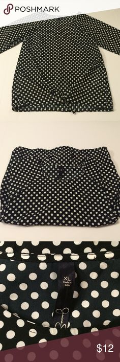 Jessica Simpson polka dot blouse Black and white polka dot Jessica Simpson blouse• size XL• 3/4 sleeve• ties in the front with elastic around waist and bottom of sleeves• 100% polyester Jessica Simpson Tops Blouses