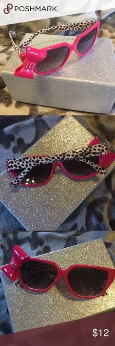 Hot pink bow sunglasses So cute to add to any outfit.  Bow has 6 little rhinestones.  Bundle and save Accessories Sunglasses
