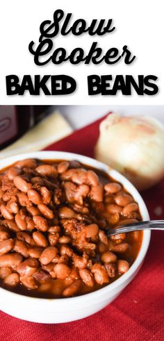 Homemade Baked Beans are so easy to make. Our slow cooker baked bean recipe is a delicious combination of tender beans and a delicious sweet and savory sauce. You will love crock pot baked beans and never go back to canned baked beans again! via @simplysidedishes89 Baked Beans Crock Pot, Slow Cooker Baked Beans, Baked Beans With Bacon, Homemade Baked Beans, Baked Bean Recipes, Crockpot Dessert Recipes, Supper Recipes, Kitchen Recipes, Side Dish Recipes