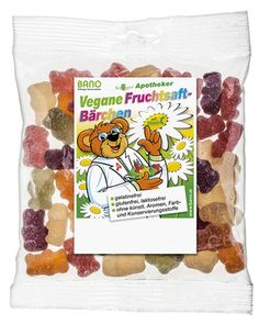 Vegan Bano® Fruchtsaftbärchen ohne Gelatine 150g - Shop - BANO Naturprodukte Shops, Gelatine, Candy, Fruit Juice, Apothecaries, Tents, Toffee, Sweets, Chocolates