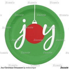 Joy Christmas Ornament Paper Plate