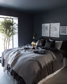 Gray color is instantly soothing. Soft blue greens create a tranquil environment… Gray color is instantly soothing. Soft blue greens create a tranquil environment, especially when paired with crisp white linens and plenty of natural light. Blue Bedroom, Trendy Bedroom, Light Bedroom, Charcoal Bedroom, Black And Grey Bedroom, Tranquil Bedroom, Dark Grey Bedding, Bedroom Lighting, Black Bedroom Walls