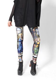 Multi Skinny Church Printed Elastic Leggings,Cheap in Wendybox.com