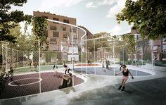 The sports city Landscape Architecture Design, Architecture Graphics, Space Architecture, Architecture Portfolio, Park Landscape, Landscape Plans, City Sketch, Bridge Design, Smart City
