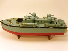 "VINTAGE ITO JAPANESE TORPEDO PATROL BOAT BATTERY OPERATED WOOD TOY SHIP 16"""