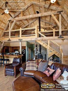 Gambrel Barn Home - Sand Creek Post & Beam - Traditional Wood Barns and Post & Beam Homes by Sand Creek Post & Beam, via Flickr