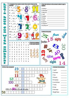 Let's Have Fun with Numbers! - English ESL Worksheets for distance learning and physical classrooms Kids English, English Tips, English Words, English Lessons, Learn English, Ingles Kids, Comprehension Exercises, Worksheets For Kids, Printable Worksheets