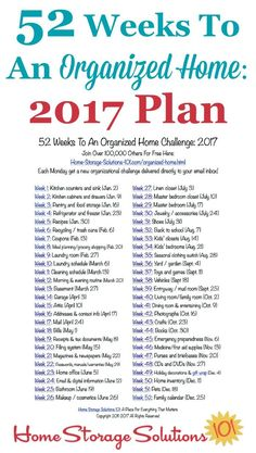 Free printable list of the 52 Weeks To An Organized Home Challenges for 2017. Join over 100,000 others who are getting their homes organized one week at a time! {on Home Storage Solutions 101}