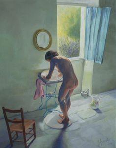 La toilette, peinture de James AUGUSTIN - Marie-Anne Lansiaux, compagne de Willy Ronis, d'après une célèbre photo en noir et blanc prise dans leur maison de Gordes, Vaucluse, l'été 1949. Huile sur toile.