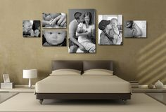 In todays gallery You will find 40 Great Ideas To Display Family Photos On Your Walls. Display Family Photos, Family Pictures, Decorating With Pictures, Decorating Your Home, Decoration Pictures, Living Room Decor, Bedroom Decor, Budget Bedroom, Bedroom Ideas