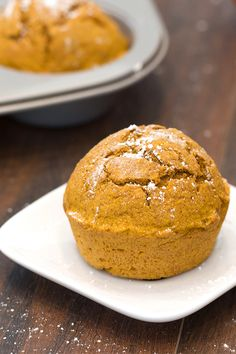 Healthy pumpkin treat! The yearly pumpkin -- and pumpkin spice -- invasion is upon us. This muffin recipe is the perfect one to start you off. It's simple & low in calories! Great w/ yogurt for breakfast, as an afternoon snack, or as a light dessert. 1 muffin: 106 calories | 2g fat | 4g protein | PIN THIS RECIPE!