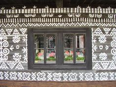 Gingerbread house in Slovakia Painted Wall Borders, Cottage Windows, Russian Folk Art, Beautiful Places In The World, Eastern Europe, Gingerbread, Building A House, Architecture, Frame