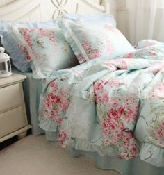 FADFAY Home Textile,Blue Floral Bedding Set,Princess Lace Ruffle Bedding Set,Twin Size,4Pcs
