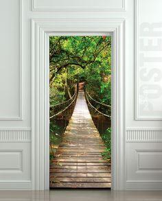 Giant Door stickers | GIANT Door STICKER rope bridge tropic forest decole film poster 30x79 ...