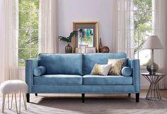 This is a pretty room. The blue in this sofa is gorgeous! Joss&Main
