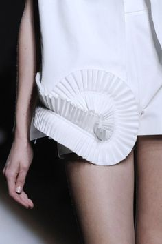 Pleated spiral hem detail - creative sewing ideas; fabric manipulation; fashion design details // Yves Saint Laurent