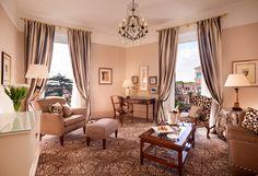 #RoyalSuite , living room: elegant interiors, soft colors, balconies at each window #Edenstyle