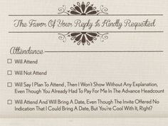 Sarcastic wedding Invitations....totally up my alley lol