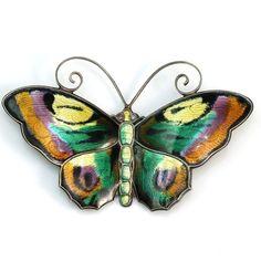 Vintage David Andersen Sterling Silver/925 Norway Enamel Butterfly Pin/Brooch #DavidAndersen