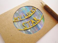 Items similar to My Lucky Star - Paper Cut Water Color Card on Etsy Wrapping Paper Design, Envelope Design, Lucky Star, Watercolor Cards, Messages, Silhouette Projects, Scrapbooking Layouts, Paper Goods, Craft Gifts