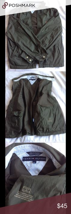 Men's Tommy Hilfiger jacket Size XL Men's Tommy Hilfiger jacket Size XL. Olive green ... Pockets on the outside and inside... Great condition Tommy Hilfiger Jackets & Coats