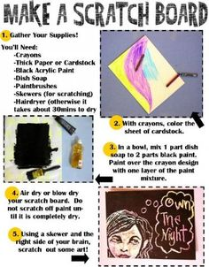 I'm going to be brave and try this with the younger kids for Summer Reading this year. Come by and create a Scratch Board on July 24th, anytime between 10am and 2pm.  All Supplies will be provided, and the activity is free.