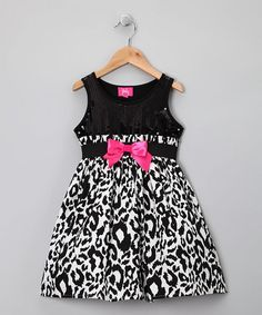 Take a look at this Black Cheetah Dress - Toddler & Girls by Zunie & Pinky on #zulily today!