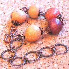 Brick Red Beige and Rust Ceramic Beads with Handmade by ColieArt, $28.00