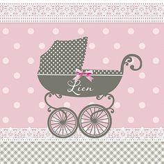 Dit geboortekaartje voor een meisje krijgt door de kinderwagen een echte retro uitstraling. Baby Strollers, Retro, Children, Cards, Toddlers, Baby Prams, Boys, Neo Traditional, Kids
