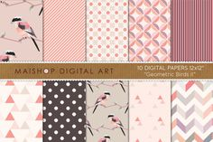 Check out Digital Paper-Geometric Birds II by Maishop Digital Art on Creative Market