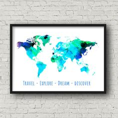 World Map Art Print Printable Maps Travel by FeelGoodGiftShop