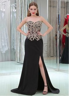 #Dressilyme - #Dressilyme Dressilyme Sexy Tulle & Chiffon Sweetheart Neckline Sheath/Column Formal Dresses With Lace Appliques & Hot Fix Rhinestones & Slit - AdoreWe.com