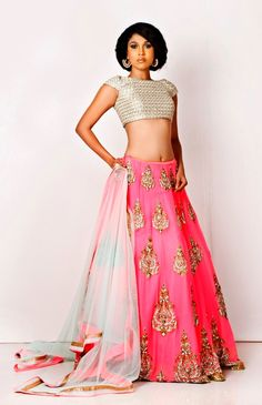 Love the fabrics and colours - lehenga