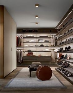 Ubik walk-in closet with wall mounted panels in latte mat lacquered Skin…