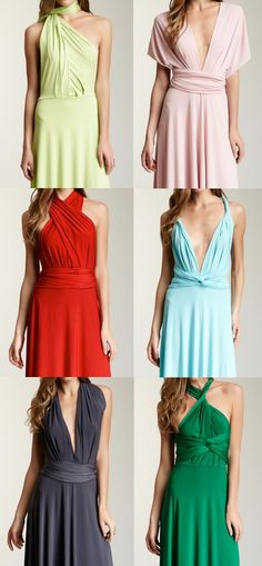 Convertible dress - cute for a bridesmaid dress! This is great so that your girls can have the style of dress that flatters them or that they like! It also adds variety to the party. Dress Skirt, Dress Up, Dress Long, Infinity Dress Styles, Vestido Convertible, Dress Outfits, Fashion Dresses, Long Bridesmaid Dresses, Prom Dresses