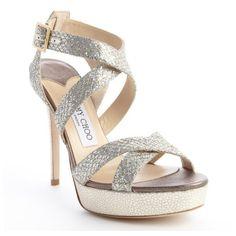 b458e890e69 Jimmy Choo Champagne glitter fabric  Vamp  crisscross platform sandals  (12